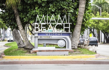 Miami Beach welcome sign, Florida