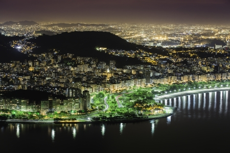 Aerial view of Rio De Janeiro by night in Brazil photo