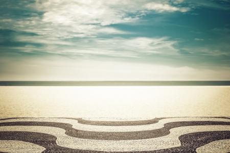 brazil beach: Mosaic on Copacabana Beach in Rio de Janeiro, Brazil