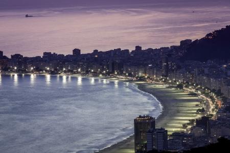 Sunset on Copacabana Beach in Rio de Janeiro, Brazil