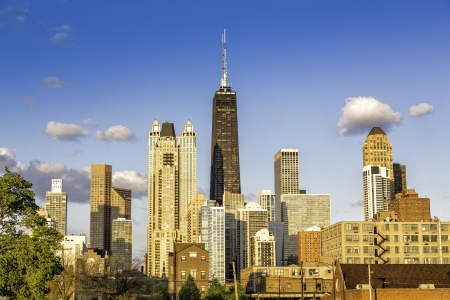 chicago skyline: Downtown of Chicago with blue sky Stock Photo