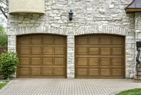 Traditional two car wooden garage Stock Photo
