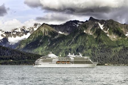 alaska scenic: Cruise ship leaving Seward, Alaska