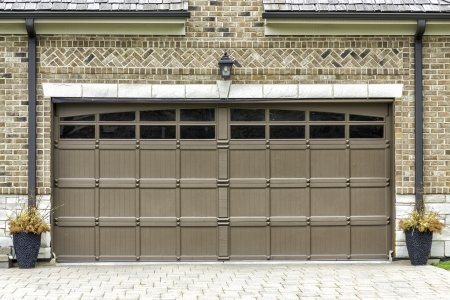 two car garage: Traditional two car wooden garage Stock Photo