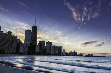 Downtown Chicago skyline by dusk photo