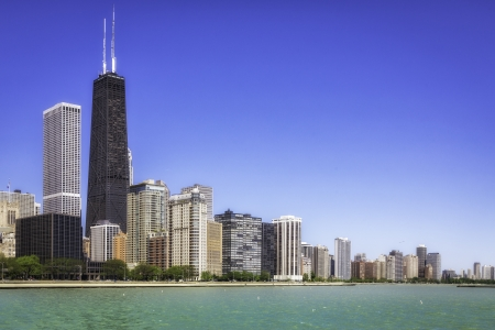 Downtown of Chicago against blue sky