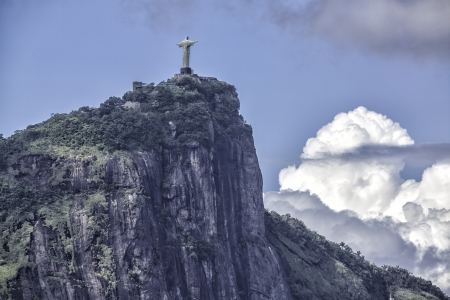 Christ the Redeemer in clouds,  Rio de Janeiro,Brazil Stock Photo
