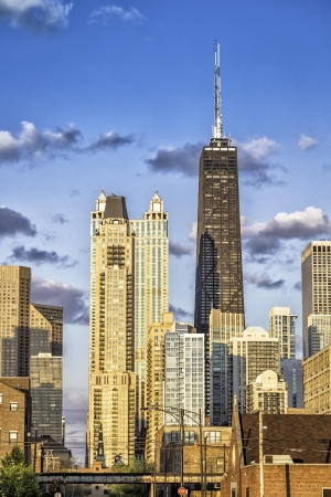 Downtown of Chicago against blue sky with clouds Stock Photo - 20161720