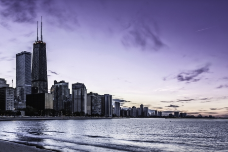 Downtown Chicago Magnificent Mile by dusk Stock Photo