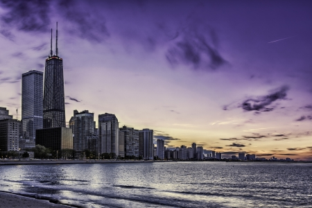 Downtown Chicago Magnificent Mile by dusk 스톡 콘텐츠
