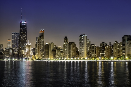 Downtown Chicago Magnificent Mile by night photo