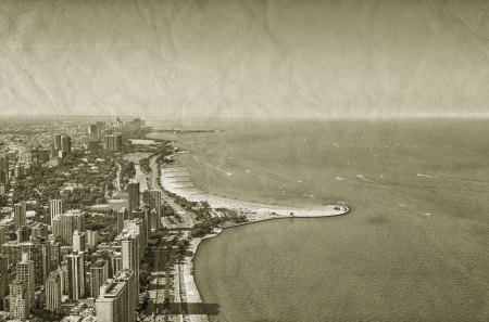Chicago Downtown vintage aerial view photo