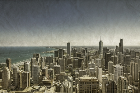 Chicago Downtown vintage aerial view Stock Photo