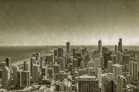 postcard: Chicago Downtown vintage aerial view Stock Photo