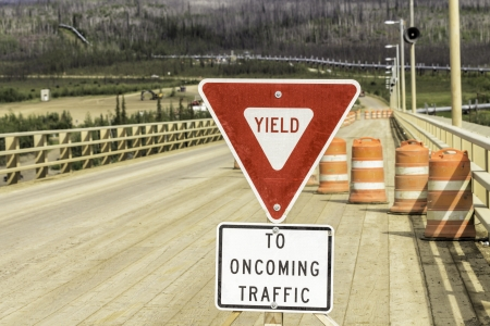 yield sign: Yield sign on Dalton Highway in Alaska