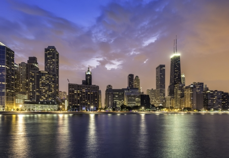 magnificent mile: Downtown of Chicago Magnificent Mile by dusk
