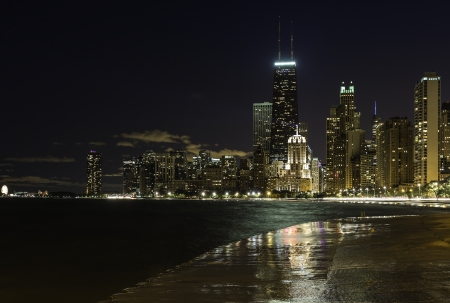 Downtown Chicago Magnificent Mile at night