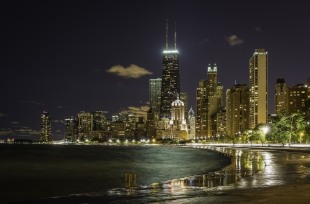 Reflections from Chicago Downtown at night Stock Photo - 22397442