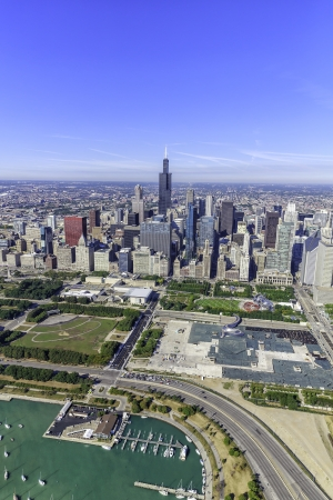 lakefront: Chicago skyline panorama aerial view with skyscrapers and city skyline at Michigan lakefront Stock Photo