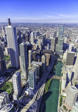 hancock building: Chicago skyline panorama aerial view with skyscrapers and Chicago River Stock Photo
