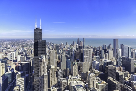hancock building: Chicago skyline panorama aerial view with skyscrapers and city skyline at Michigan lakefront Stock Photo
