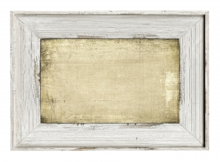 Wood painted frame with empty grunge canvas isolated on white photo