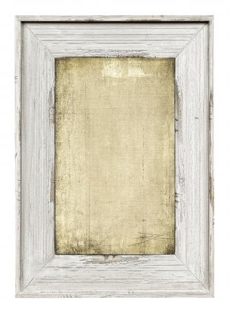 Wood painted frame with empty grunge canvas isolated on white