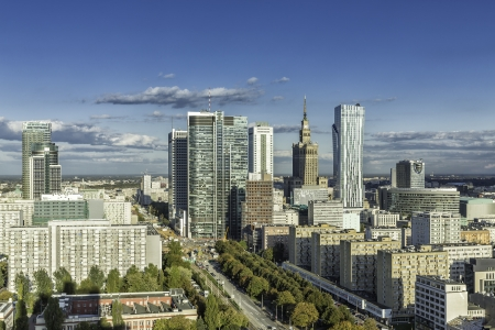 Warsaw downtown aerial view, Poland