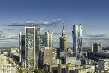 Centrum van Warschau luchtfoto, Polen Stockfoto