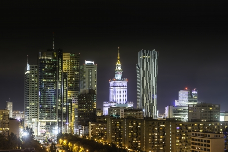 Downtown Warsaw at night, Poland