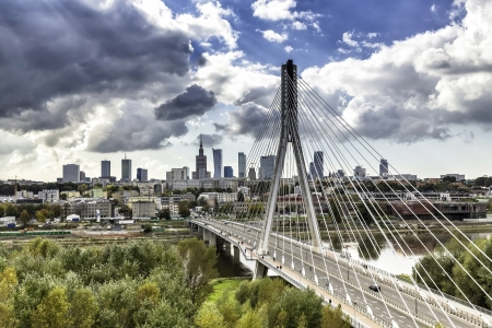 Warsaw skyline behind the bridge, Poland Stock fotó