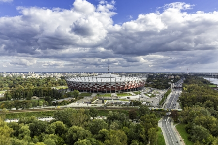 WARSAW, POLAND - SEPTEMBER 29,2013  Warsaw National Stadium on September 29, 2013  The stadium was constructed in 2011 to meet euro 2012 football championship