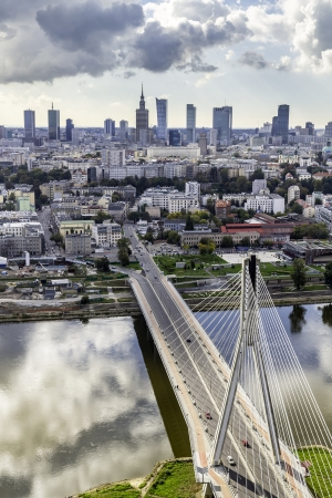 Warsaw skyline behind the bridge, Poland 版權商用圖片