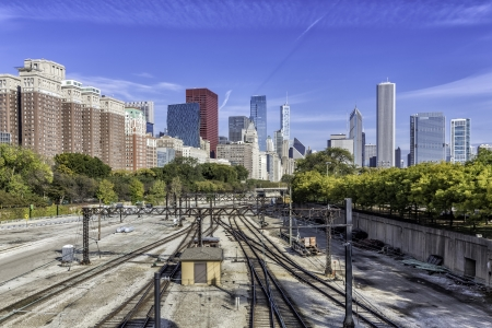 Chicago downtown with railway tracks in sunny day photo