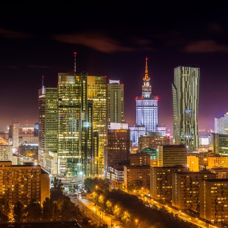 Warsaw downtown at night, Poland photo