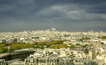 View of Paris with Sacre Coeur Basilica on the hill, France photo