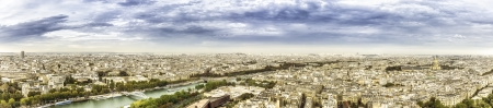 Aerial panorama of Paris with scenic sky, France photo