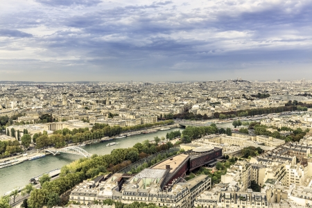 Aerial View on Paris from the Eiffel Tower, France   photo