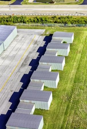 Metal storage garage aerial view photo