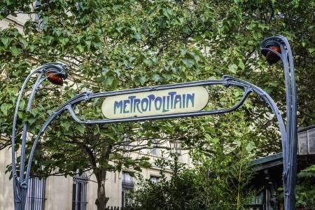 Entrance to Paris Metro subway, France