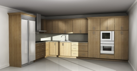 New kitchen interior with natural wood cabinets photo