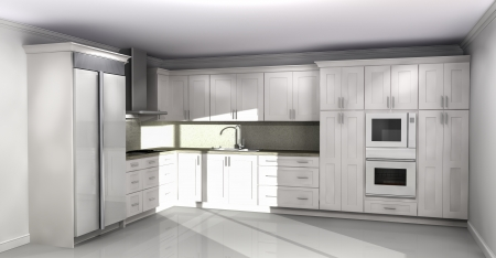 New kitchen interior with white cabinets photo