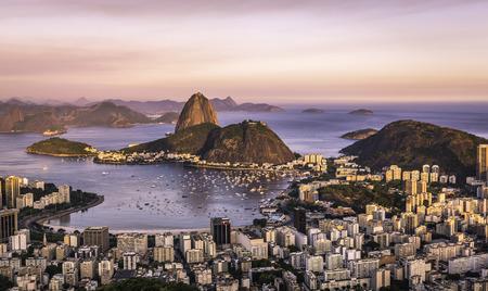 rio: Sunset over Rio de Janeiro ,Brazil Stock Photo
