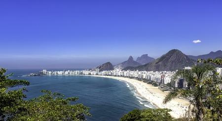 rio: Sunny day on Copacabana Beach in Rio de Janeiro, Brazil