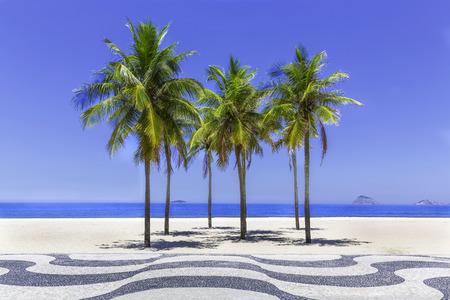 Copacabana beach with palms and sidewalk in Rio de Janeiro, Brazil photo