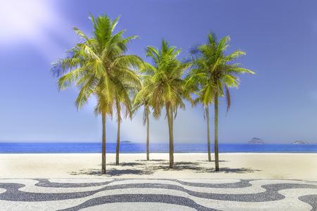 Sun shining on Copacabana Beach sidewalk in Rio de Janeiro, Brazil