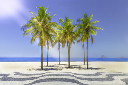 Sun shining on Copacabana Beach sidewalk in Rio de Janeiro, Brazil photo
