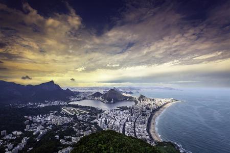 Aerial sunset panorama of Rio de Janeiro,Brazil