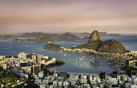 리우 데 자네이루, 리우데 자네이루 보타 포고 베이, 브라질 일몰 스톡 콘텐츠