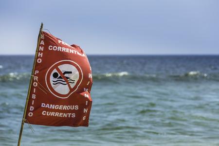 currents: Danger currents beach sign in Rio de Janeiro ,Brazil
